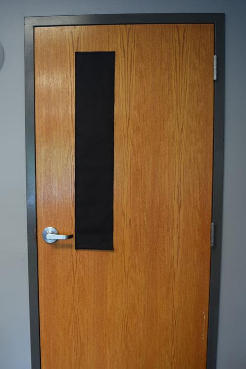 Classroom door window shades